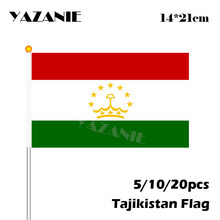 YAZANIE 14*21cm 5/10/20pcs Tajikistan Hand Waving National Flag Polyester Hand Flag Quality Celebrate World Countries Flags(China)