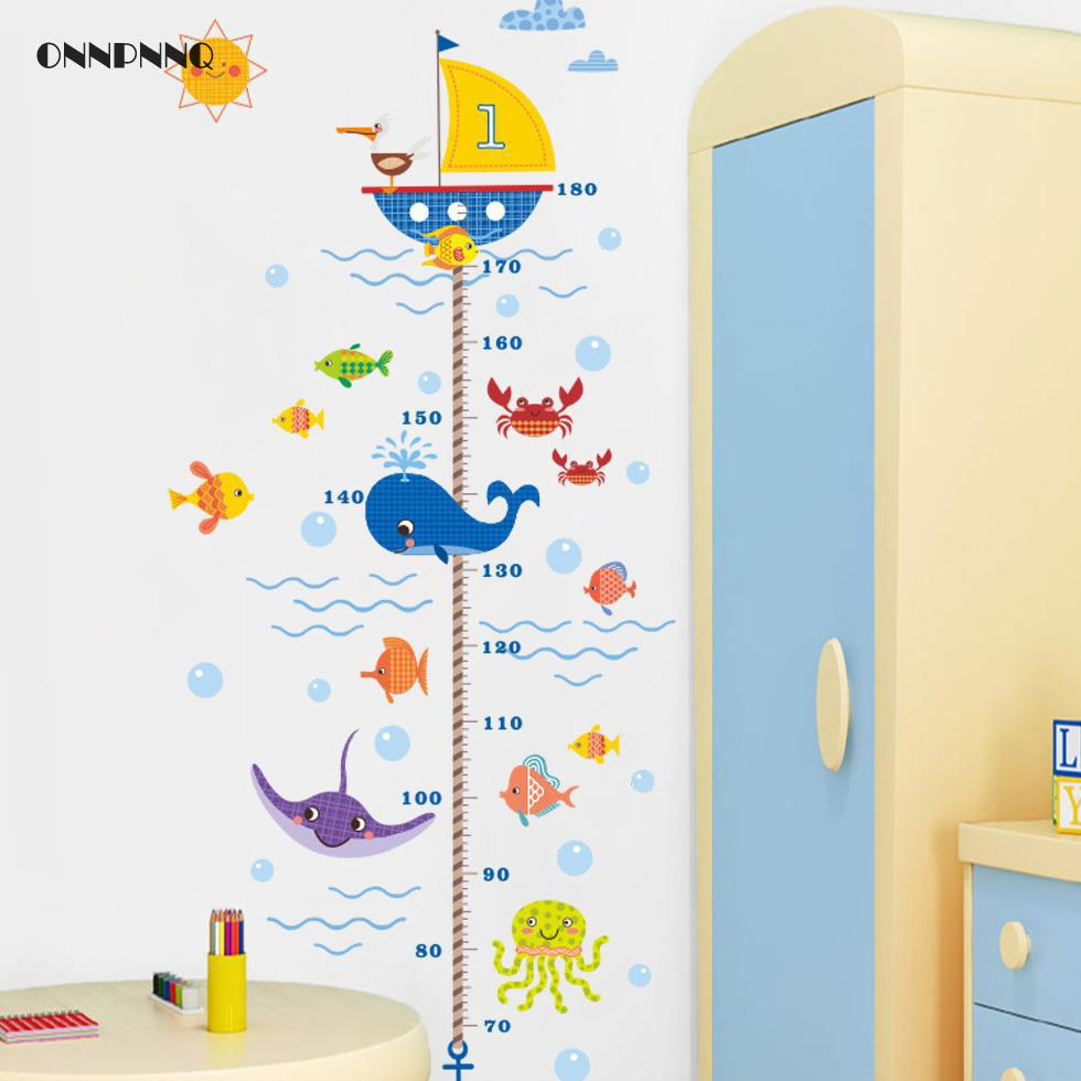 Creative Nautical Cartoon Underwater World Height Sticker For Childrens Bedroom Wall Stickers For Kids Rooms Nautical decor