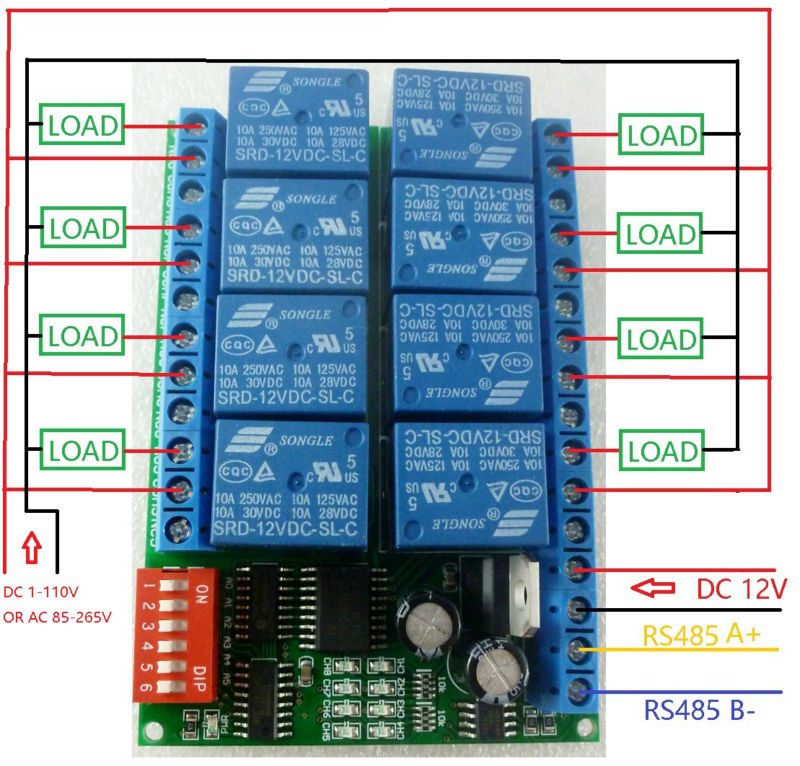 8ch Dc 12v Modbus Rtu Rs485 Relay Module Switch Board For Plc Lamp Led Ptz Camera
