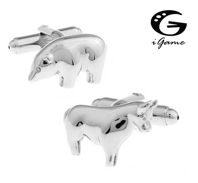 IGame 1 Pair Fashion Cuff Links Silver Color Novelty Brass Animal Bull And Bear Design