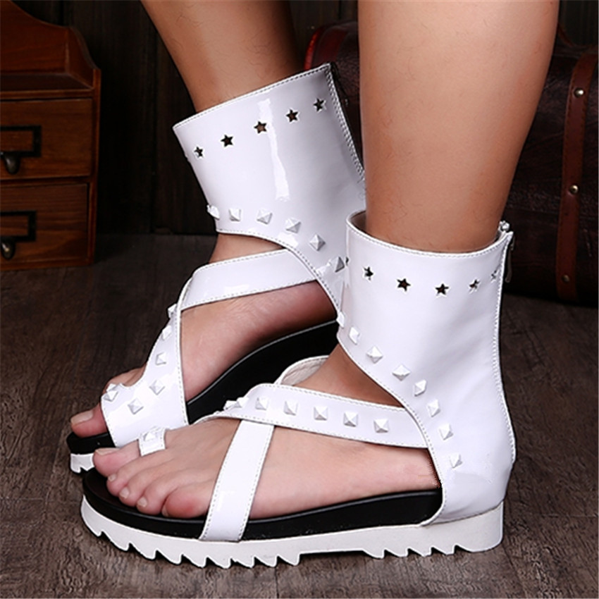 Здесь можно купить  Summer Men White Sandals Beach Flats Flip Flops Platform Sandalias Hombres Flat Shoes Back Zipper Beach Shoes  Обувь