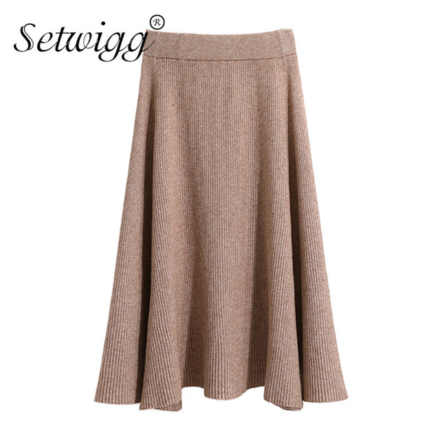 5a0fde8319f639 Autumn Winter Thick Wool Long Flared Knit Skirt Cashmere Rib Knitted Warm  Mid-Calf Skater Skirts Green Coffee Army Green