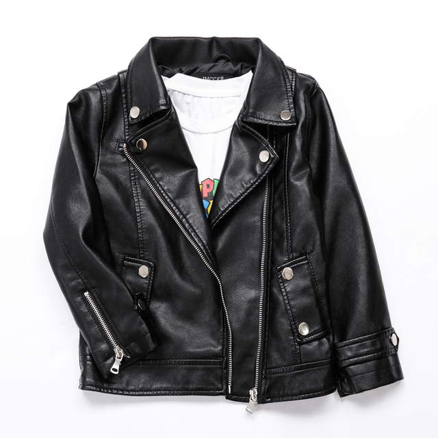 87e69e3bc488 New Kids PU Leather Jacket Boys Coats Autumn Spring Baby Boy Faux ...