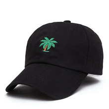 2ee29ec96e7 2018 New High Quality Palm Trees Embroidery Curved Dad hat Snapback Hats  Trip Baseball Cap Coconut Trees Hat Bone Hip Hop Cap
