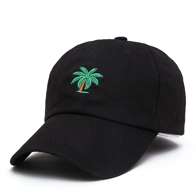 fa962df40 US $4.78 20% OFF|2018 New High Quality Palm Trees Embroidery Curved Dad hat  Snapback Hats Trip Baseball Cap Coconut Trees Hat Bone Hip Hop Cap-in ...