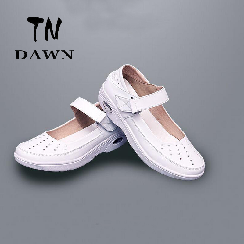 Non-Slip Breathable Female Work Shoes Shallow Mouth Cow Muscle White Show Thin And Loose Single Shoes And Hollow Plus Size 34-41