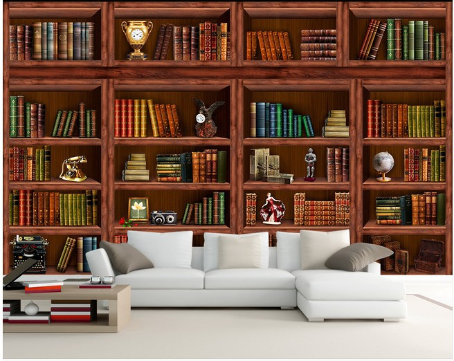 European bookshelf mural wallpaper 3d stereoscopic study for Bookshelf mural wallpaper