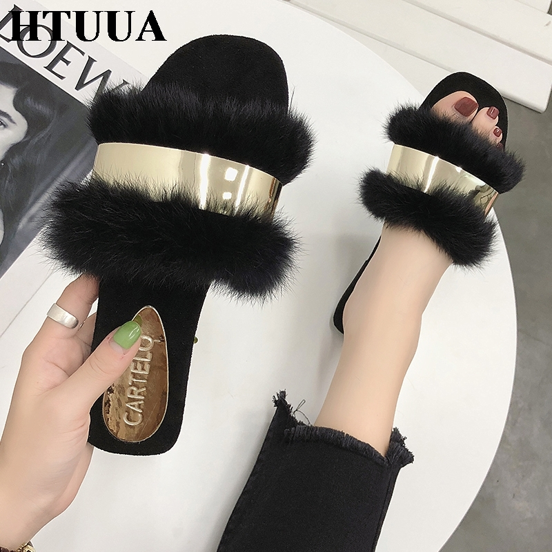 HTUUA Fluffy Fur Slippers Women Fashion Metal Bling Fur Slides Flat Flip Flops Summer Winter Home Slipper Ladies Shoes SX1495