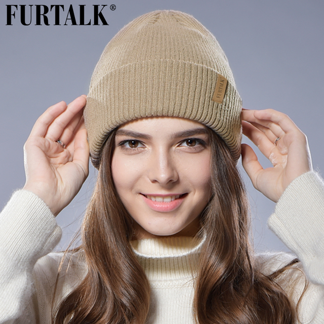 d85f408b5056d3 FURTALK Winter Wool Woman Knitted Beanie Hat Cuff Cap Autumn Hats for Women  Stocking Hat Female