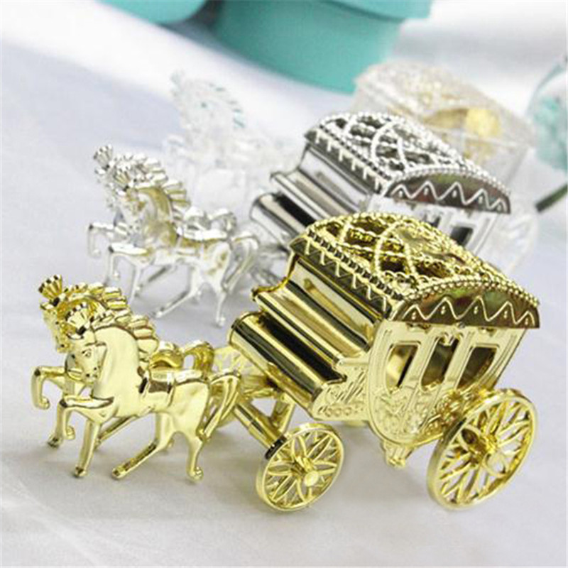 3pcs/ Lot Fashion Cinderella Carriage Wedding Favor Boxes Candy Box Wedding  Decoration Event Party Supplies