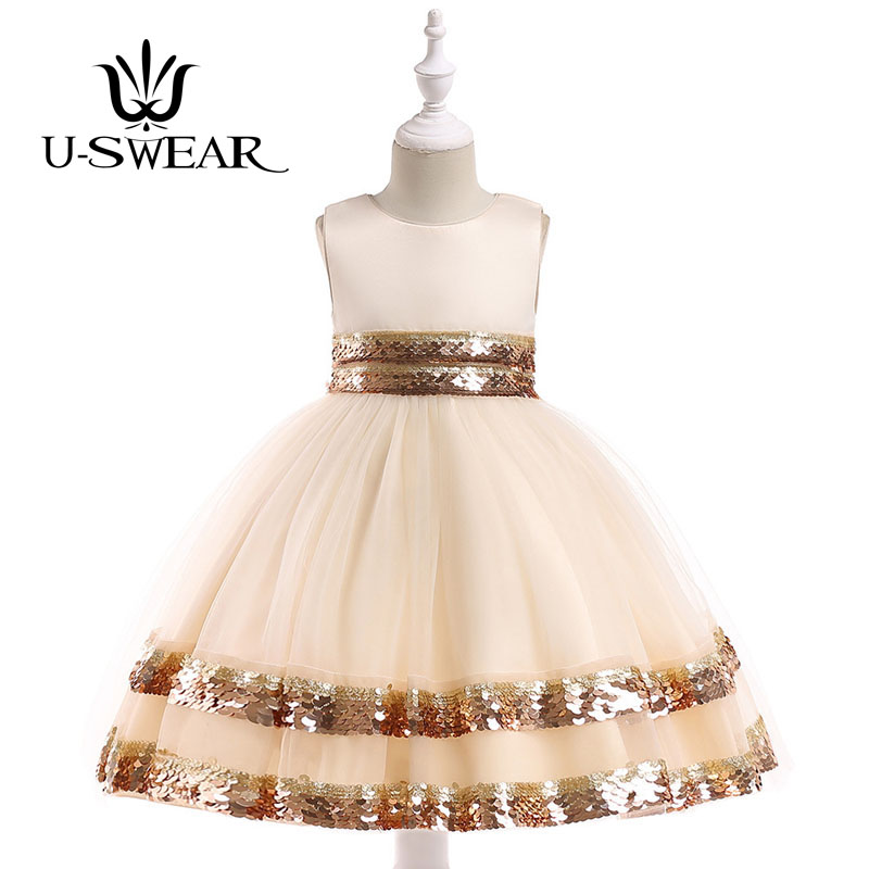 U-SWEAR 2019 New Arrival Kid   Flower     Girl     Dresses   O-neck Sleeveless Sequined Chiffon Ball Gown Pageant   Dresses   Vestidos