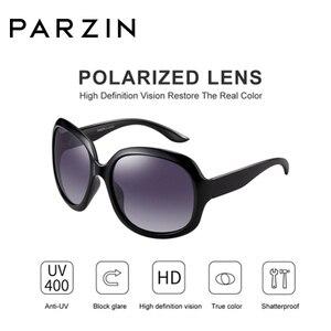 Image 4 - Parzin óculos de sol feminino designer de marca elegante grande quadro polarizado uv 400 senhoras máscaras com caso