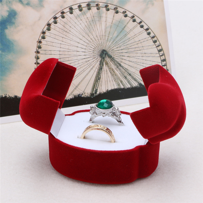 Jewelry Box Velvet Engagement Wedding Couple Ring Earring Jewelry Display Storage Box Case For Rings Display Box Jewelry Package