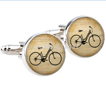 1 Pair New Fashion Vintage bicycle Cufflinks Silver plated Antique bike Cuff links men and women ,classical gold cufflinks(China)
