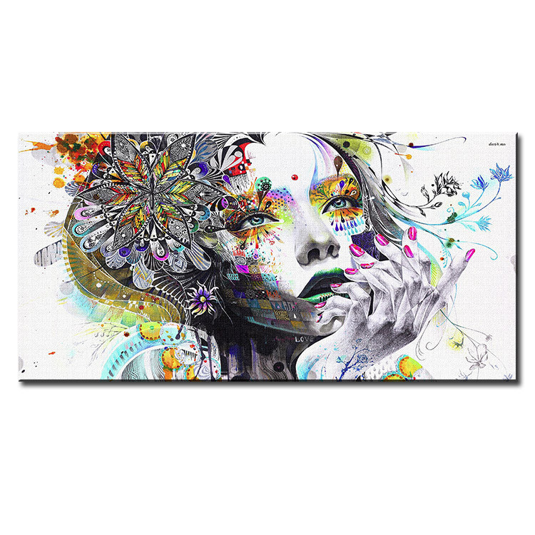 Wall Art Canvas Picture Print of Urban Girl Drawing Framed