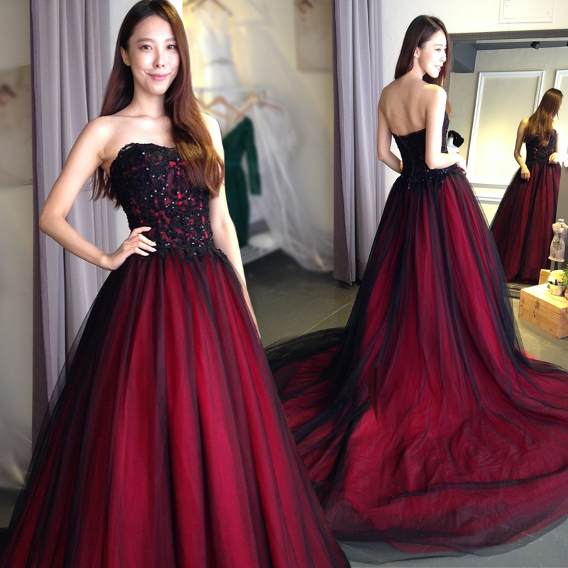 Online Get Cheap Plus Size Black and Red Wedding Dresses ...