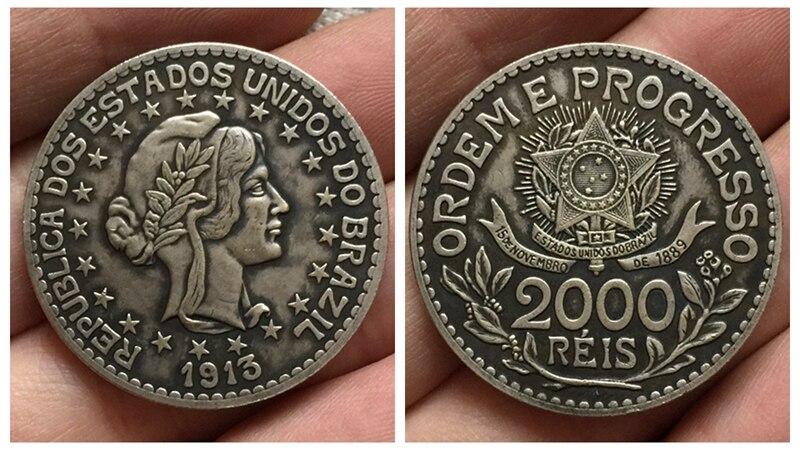 1913 БРАЗИЛИЯ 2000 Reis Монеты Скопируйте Бесплатная доставка
