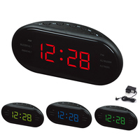 AM FM Radio Alarm Clock Digital LED Luminous Screen Snooze Electronic Clocks E2S
