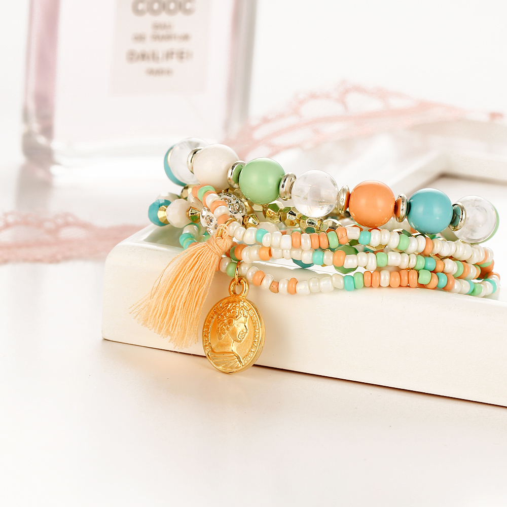 17KM Crystal Multicolor Beads Weave Tassel Bracelet Multilayer Coin Bracelets For Women 2018 New Punk Pulseira Accessories Gift 4