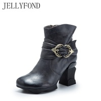 JELLYFOND 2017 Retro Style High Heel Women Ankle Boots Designer Genuine Leather Buckle Brand Winter Autumn