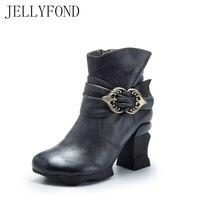 JELLYFOND 2017 Retro Style High Heel Women Ankle Boots Designer Genuine Leather Buckle Brand Winter Autumn