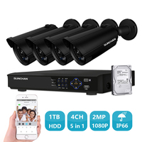 SUNCHAN 1080P Security Camera System 4ch AHD CCTV System DVR Kit 4x1080P Security Camera 2 0mp