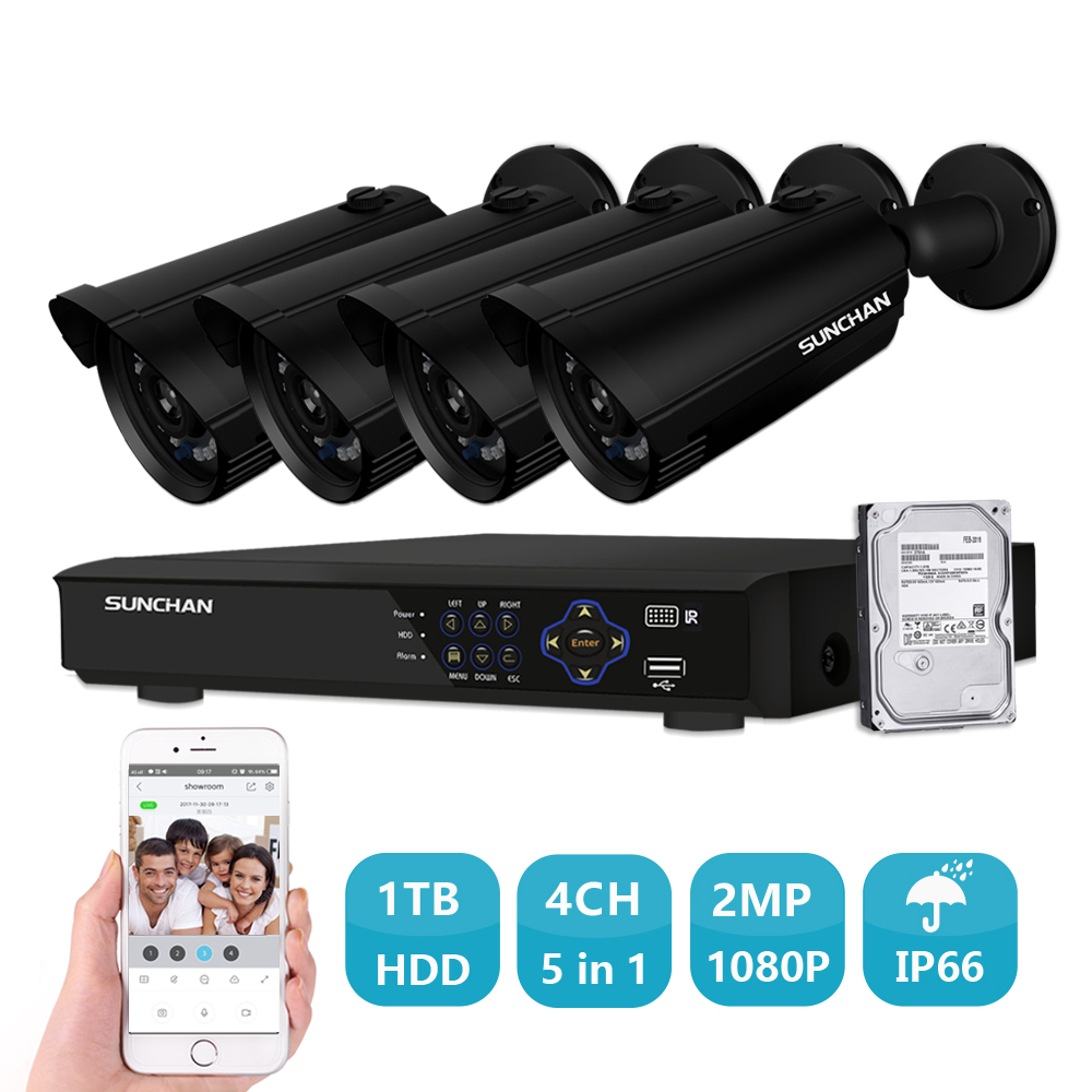 SUNCHAN 1080P Security Camera System 4ch AHD CCTV System DVR Kit 4x1080P Security Camera 2 0mp