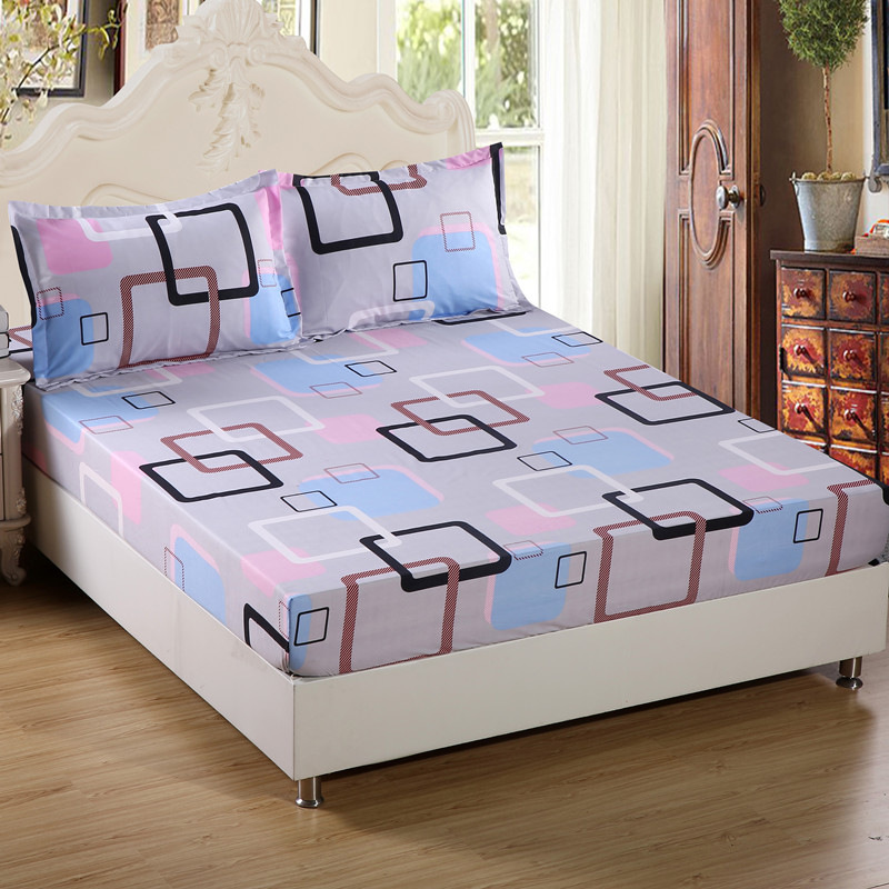 Mattress Cover with Pillowcase Cartoon Kids Fitted Sheet with Elastic Queen/King Size Mattress Protector Bed Sheet Set