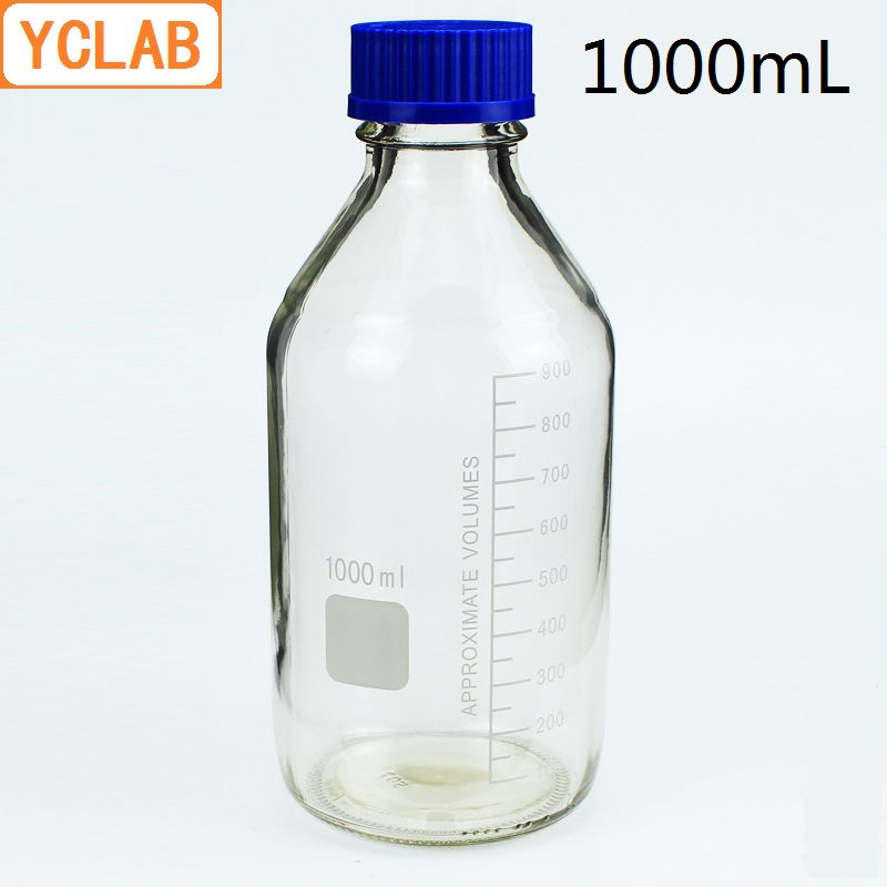 YCLAB 1000mL Reagent Bottle Screw Mouth With Blue Cap 1L Transparent Clear Glass Medical Laboratory Chemistry Equipment