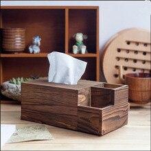 Деревянная коробка для хранения салфеток Ретро Классический контейнер для салфеток Многофункциональный трехблочный домашний декор карбоновый цвет