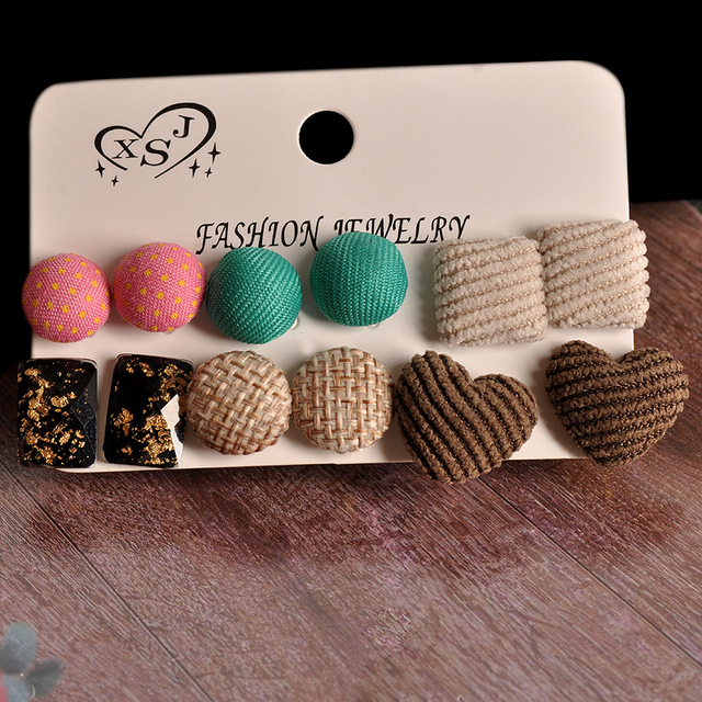 New fashion women jewelry wholesale girls trendy party heart pretty green pink mix-and-match 6 pairs /set gorgeous earrings gift