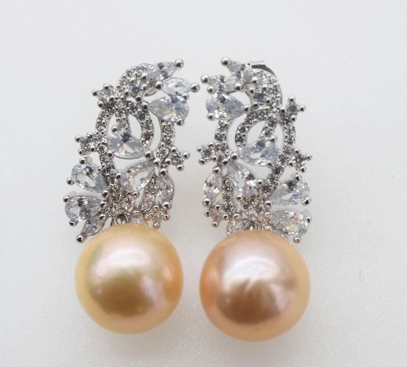 Rose/violet perle d'eau douce reborn keshi près de rond 12-13mm + zircon carré crochet boucles d'oreilles FPPJ perles en gros nature