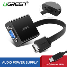 Ugreen HDMI untuk Adaptor VGA untuk PS4 Pro Raspberry Pi 3 2 Chromebook TV HDMI VGA Adaptor Kabel dengan Audio 3.5 Mm Jack(China)