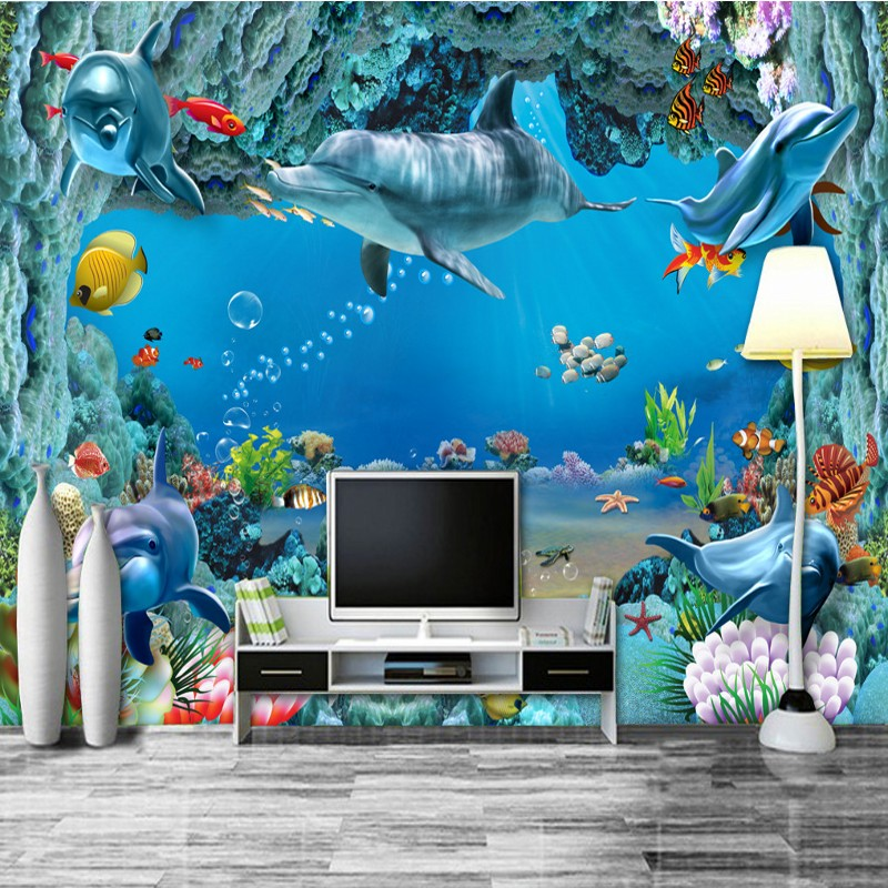 Photo wallpaper 3D Underwater World Living Room TV Sofa Background Wall lobby wallpaper custom studio mural custom photo wallpaper 3d golden buddha mural living room sofa tv lobby background wall bedroom bathroom wallpaper mural