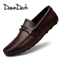 Mens Casual Genuine Leather Shoes Spring Summer Men Flat Walking Loafers Black Brown Man Luxury Slip
