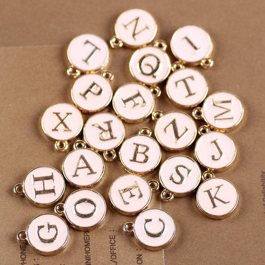 Mini Order 26pcs Pink Jewelry Alloy Oil Drop Initial Bracelet Charms Gold Tone Enamel Alphabet Letter