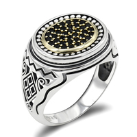 925 Sterling Silver Men Ring With Black CZ Oval Shape Hollow Carved Geometric Rings Turkey Jewelry for Men Punk Fashion Ring