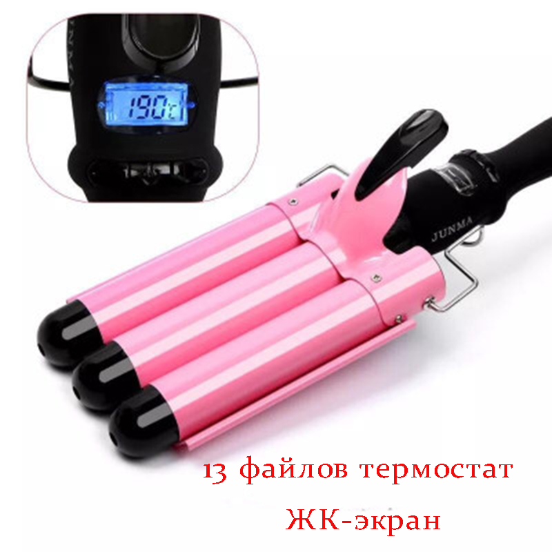 lcd 110-220V Hair Curling Iron Ceramic Triple Barrel Hair Curler Hair Waver Styling Tools Hair Styler ckeyin lcd professional hair curling iron tourmaline ceramic triple barrels curler big wave negative ions waver styling tools