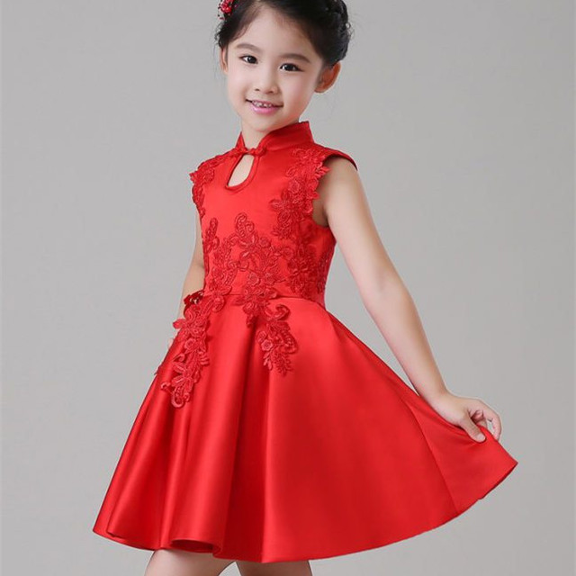 2018 Children Party Wear Formal Dress Chinese Eleghant Princess Red