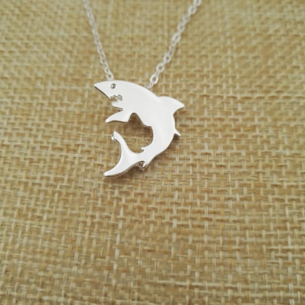 """""""Little Shark"""" Shark Necklace Silver 2"""