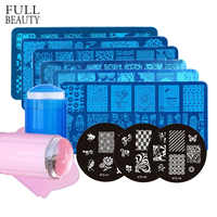 Full Beauty Random 6pcs/12pcs Stamping Plate+1pcs Stamper Scraper Silicone Steel Beauty Image Nail Art Template Sets CH671