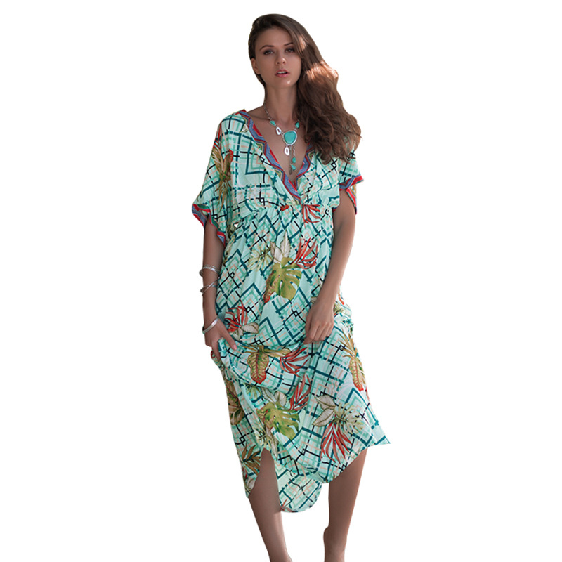 2019 spring and summer new deep V collar shoulder sleeve printed bat sleeve long sleeves thin waist dress plus size dress in Dresses from Women 39 s Clothing