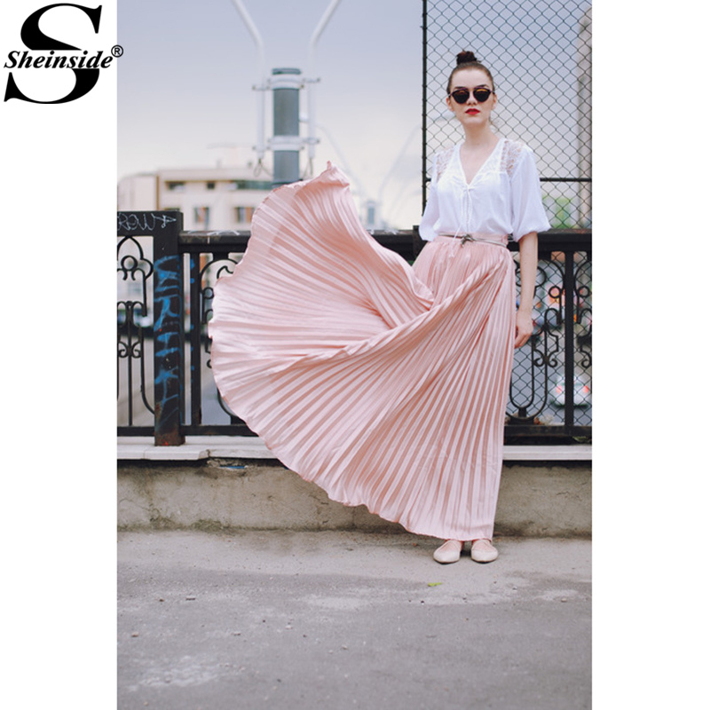 Sheinside Pleated Maxi Skirt 2017 Autumn Womens Hight Waist Fashion Designer Elegant Ladies Elastic Waist Beach