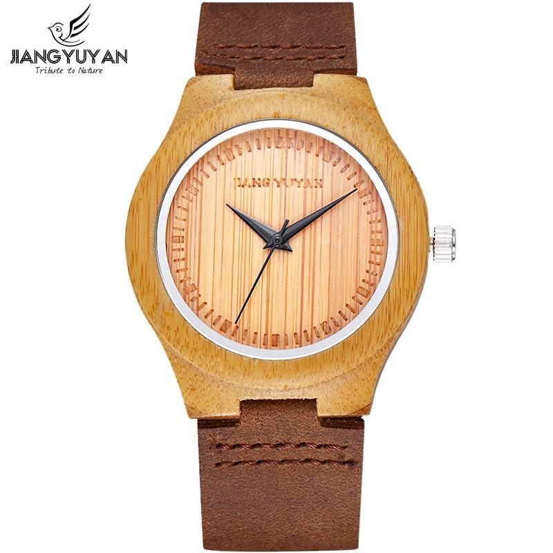 8fd9214f3 Madeira Rosto Feminino Hour Relógio De Madeira De Bambu Mulheres Genuína  Moda Pulseira de Couro Relógios de Pulso 2017 New arrival