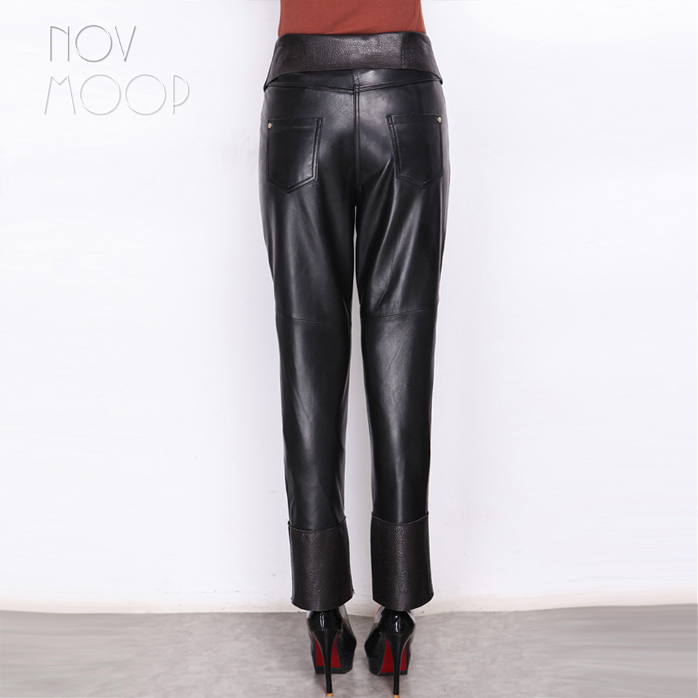 dd02daf2489 Women black genuine leather real lambskin front zipper high waist pencil  pants trousers regular pantalon femme plus size LT2415