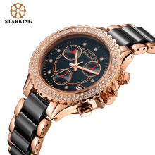 STARKING Black Women's Watches Female Fashion Casual Ceramic Diamond Decoration Quartz Watch Round Dial Multi-Function Retro Ure