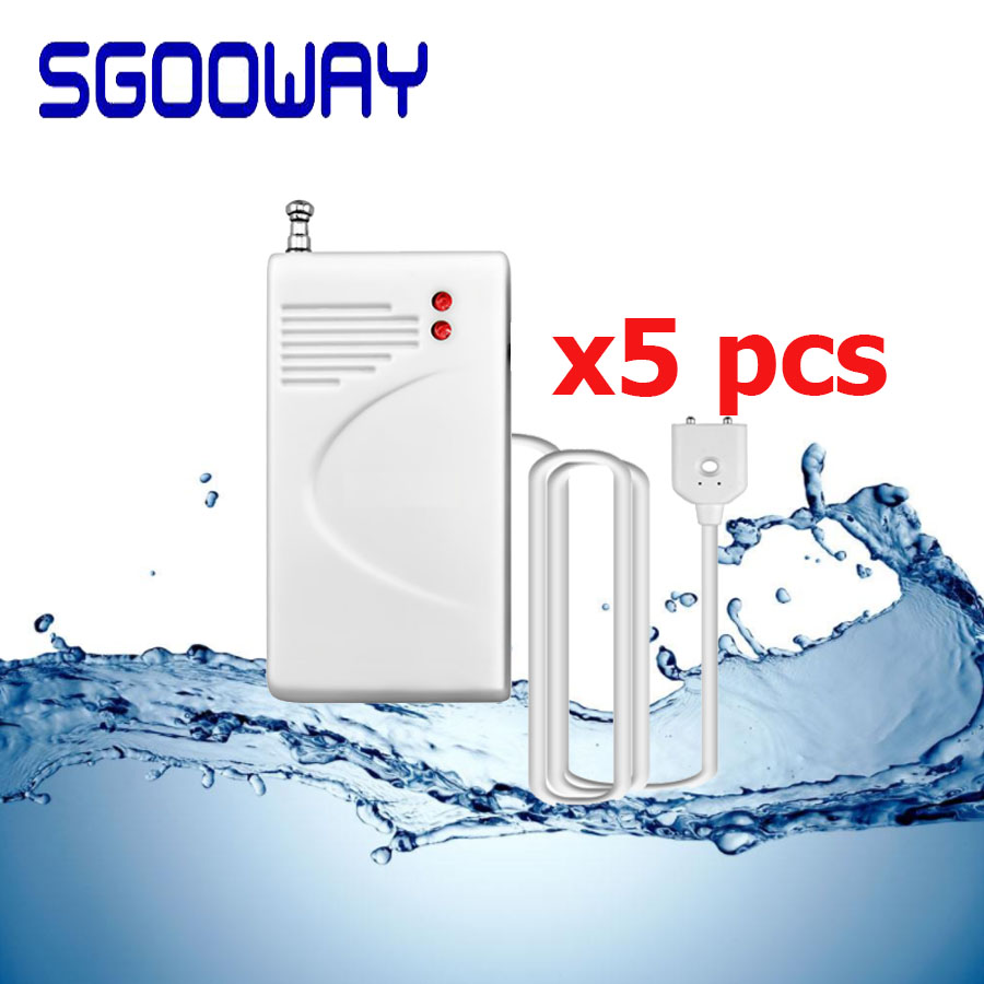 Sgooway 5Pieces 433MHz Wireless Water Leak Detector Water Leakage Sensor Work With Home Security PSTN Gsm Wifi Alarm System