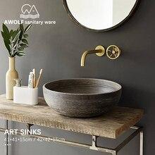 욕실 싱크 아트 세라믹 선박 모조 돌 세척 분지 그릇 욕실 또는 발코니 고대의 방법을 복원 싱크 AM855