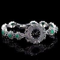 Лидер продаж Для женщин классический тайский серебряный часы с серебряным браслетом S925 часы с серебряным браслетом Серебряный нефритовый