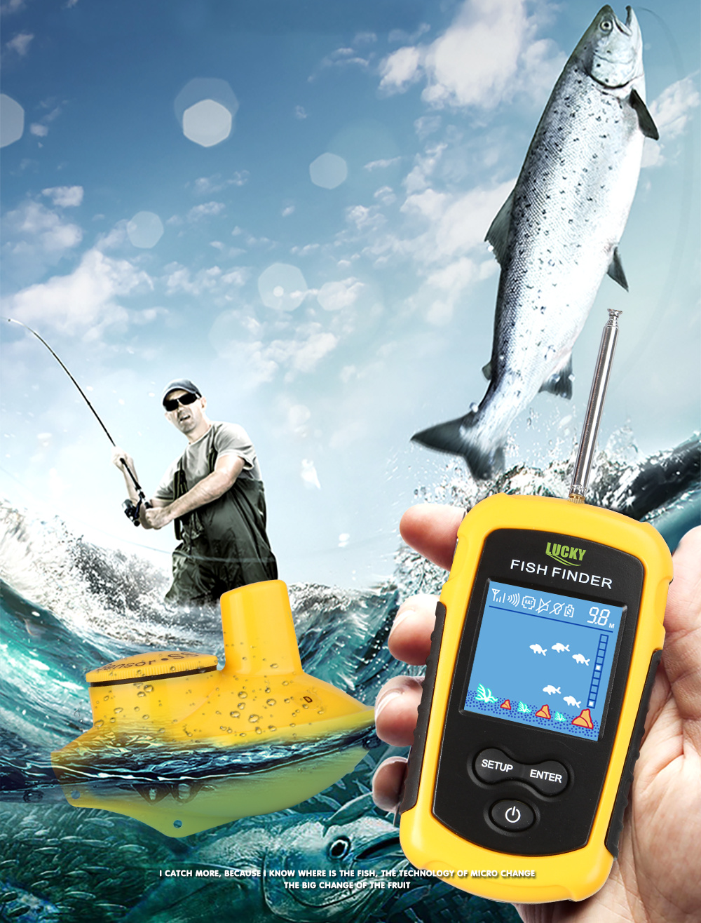 fio 120m sem fio pesca localizador alarme